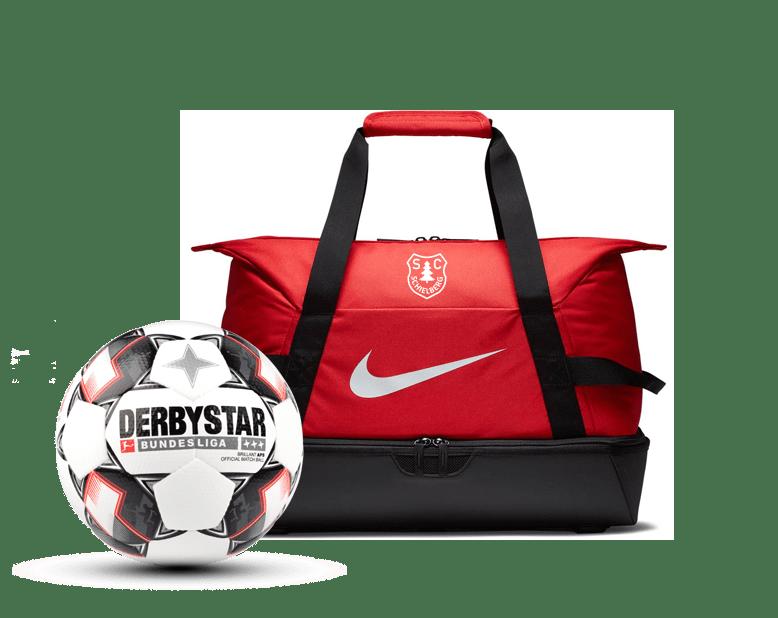 Fussball und Sporttasche