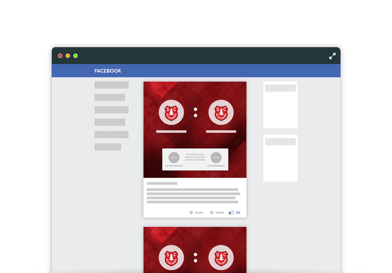 Abbildung von Werbeintegration auf Facebook