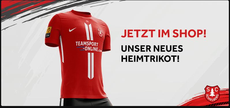 Werbung für das neue Heimtrikot des SC Schielberg