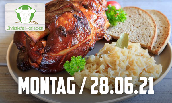 Schweinshaxe mit Sauerkraut und Brot (8,00 €)